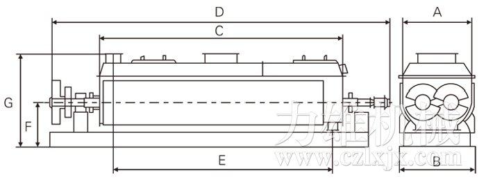 空心桨叶干燥机结构示意图